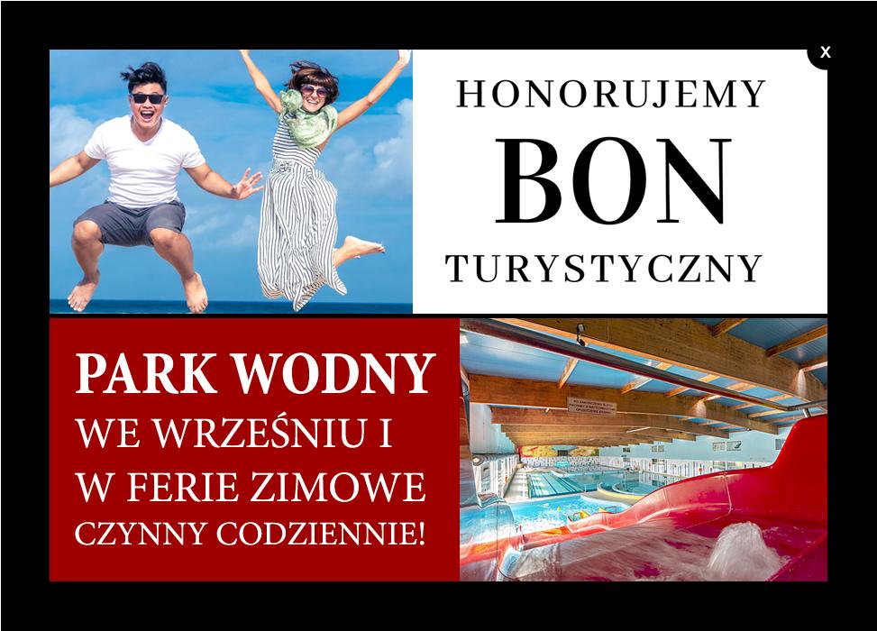 Honorujemy Bon Turystyczny, Park wodny w ferie zimowe czynny codziennie.